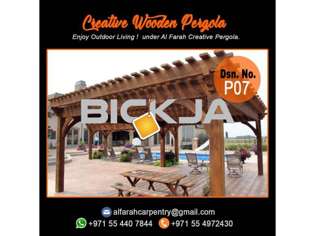 Balcony Attached attached pergola Abu Dhabi | Dubai Pergola Design | Wooden pergola - 1/4