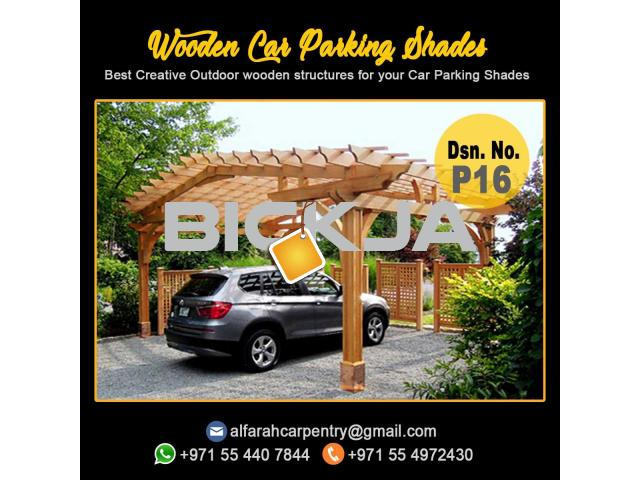 Wooden Car Parking Shade Abu Dhabi| Car Parking Pergola | Wooden Walkway Shades Dubai - 1/4