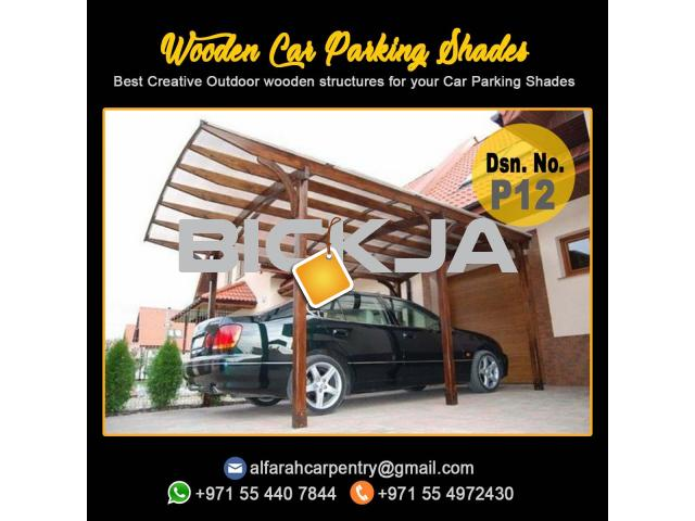 Wooden Car Parking Shade Abu Dhabi| Car Parking Pergola | Wooden Walkway Shades Dubai - 2/4