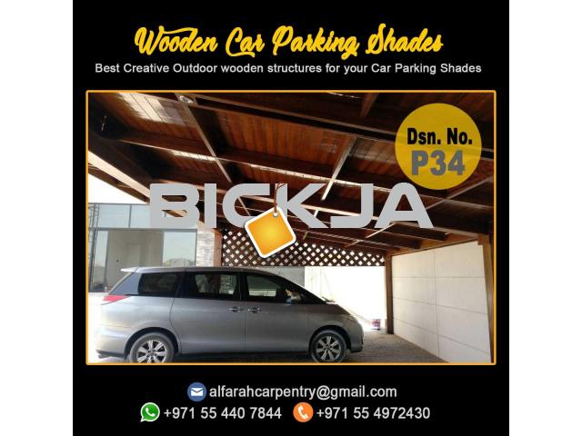 Wooden Car Parking Shade Abu Dhabi| Car Parking Pergola | Wooden Walkway Shades Dubai - 3/4