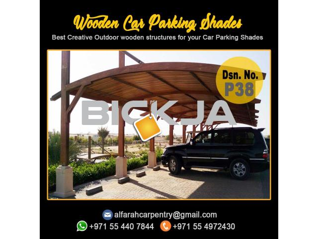 Wooden Car Parking Shade Abu Dhabi| Car Parking Pergola | Wooden Walkway Shades Dubai - 4/4