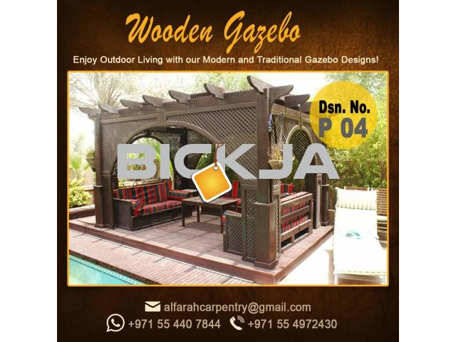 Gazebo in Abu Dhabi |Garden Gazebo| Wooden Roof Gazebo Dubai - 3/4