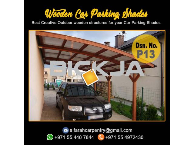 Wooden Parking Shades | Wooden Walkway Shades | Car Parking Pergola Dubai - 1/4