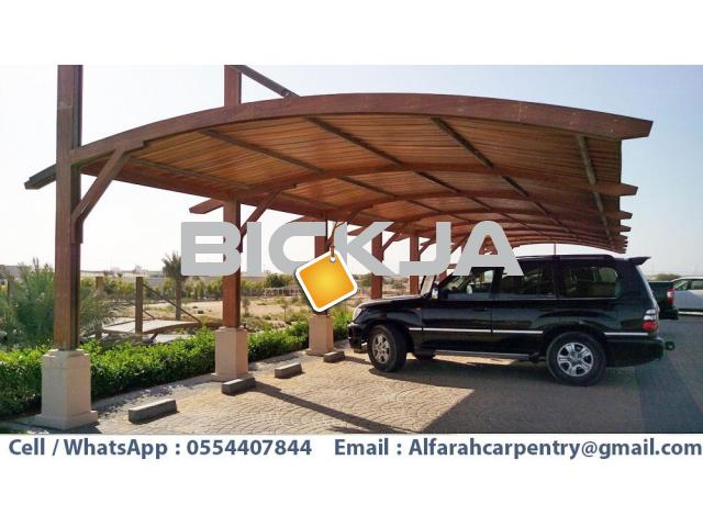 Car Parking Pergola Dubai | Wooden Parking Shades | Wooden car parking Shades Dubai - 1/4
