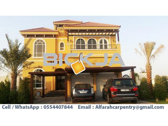 Car Parking Pergola Dubai | Wooden Parking Shades | Wooden car parking Shades Dubai - 3/4