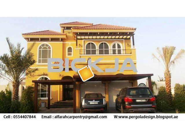 Wooden car Parking Shades Dubai | Wooden Walkway Shades | Wooden Sun Shades Dubai - 1/3