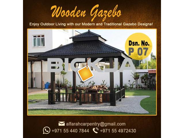 Wooden Gazebo Dubai | Gazebo With Decking | Gazebo With Benches Abu Dhabi - 1/4
