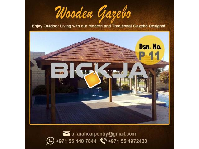 Wooden Gazebo Dubai | Gazebo With Decking | Gazebo With Benches Abu Dhabi - 2/4