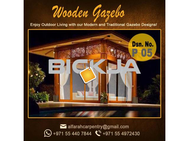 Wooden Gazebo Dubai | Gazebo With Decking | Gazebo With Benches Abu Dhabi - 3/4