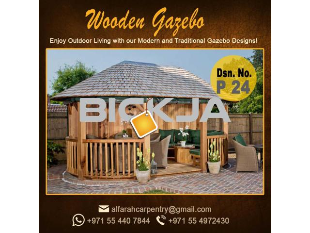 Wooden Gazebo Dubai | Gazebo With Decking | Gazebo With Benches Abu Dhabi - 4/4