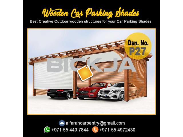 Wooden Car Parking Shades Dubai | Car Parking Pergola Dubai | Wooden Sun Shades Dubai - 1/4