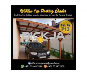 Wooden Car Parking Shades Dubai | Wooden Walkway Shades | Wooden Sun Shades Dubai