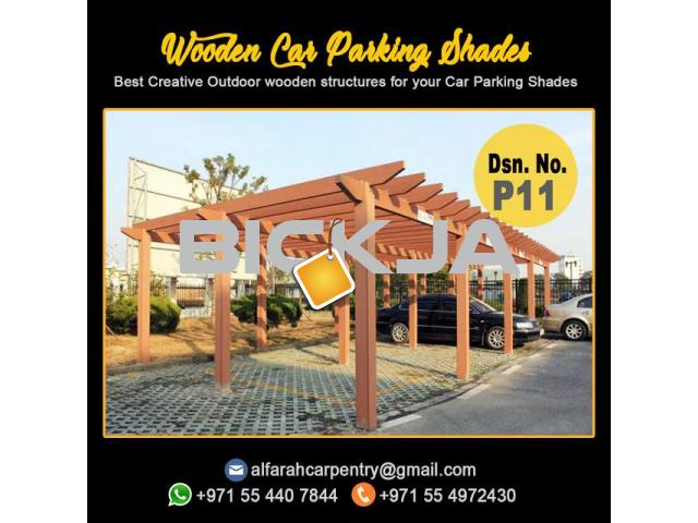 Wooden Car Parking Shades | Car Parking Pergola Abu Dhabi | Car Parking Wooden Shades Dubai - 3/4