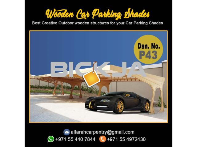 Wooden Car Parking Shades Dubai | Car Parking Pergola Dubai | Wooden Walkway Shades Dubai - 1/3