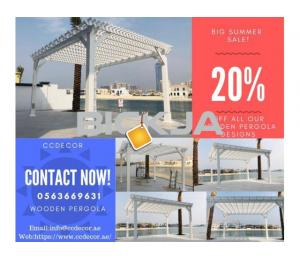Outdoor wooden pergola shades in Dubai