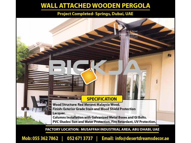 Outdoor Wooden Structure Dubai | Garden Pergola Dubai | Wall Attached Pergola | Wooden Pergola Dubai - 3/4