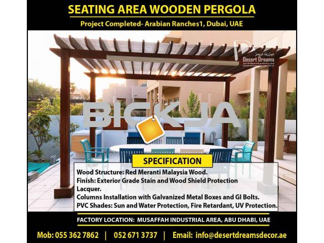 Outdoor Wooden Structure Dubai | Garden Pergola Dubai | Wall Attached Pergola | Wooden Pergola Dubai - 4/4
