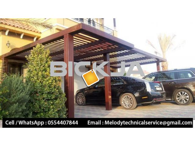 Wooden Sun Shades | Wooden car Parking Shades Dubai | Car Parking Pergola - 1/4