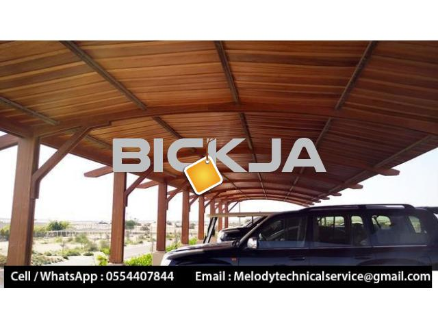 Wooden Sun Shades | Wooden car Parking Shades Dubai | Car Parking Pergola - 2/4