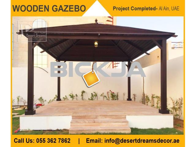 Wooden Roofing Gazebo in UAE | Square Gazebo | Octagon Shape Gazebo | Gazebo Suppliers in Dubai. - 4/4