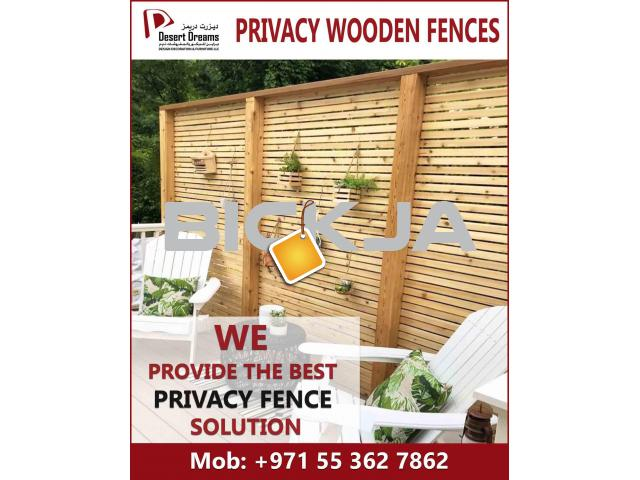 Wooden Slats Fences Uae | Dubai Villa Privacy Panels | Garden Area Privacy fence Dubai. - 1/3
