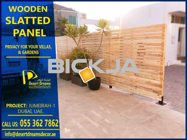 Wooden Slats Fences Uae | Dubai Villa Privacy Panels | Garden Area Privacy fence Dubai. - 3/3