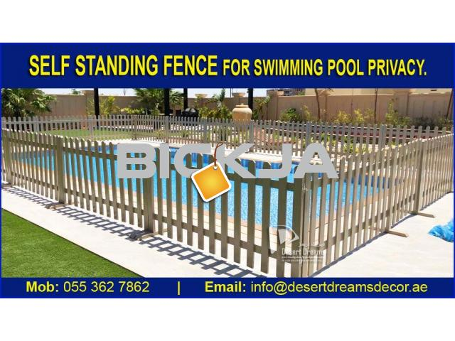 Swimming Pool Privacy Fence Dubai | White Picket Fence | Kids Play Area Fence Uae. - 1/4
