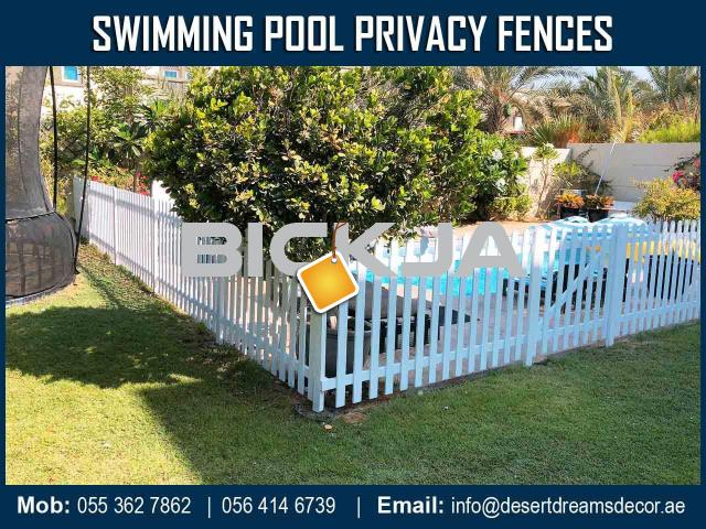 Swimming Pool Privacy Fence Dubai | White Picket Fence | Kids Play Area Fence Uae. - 3/4