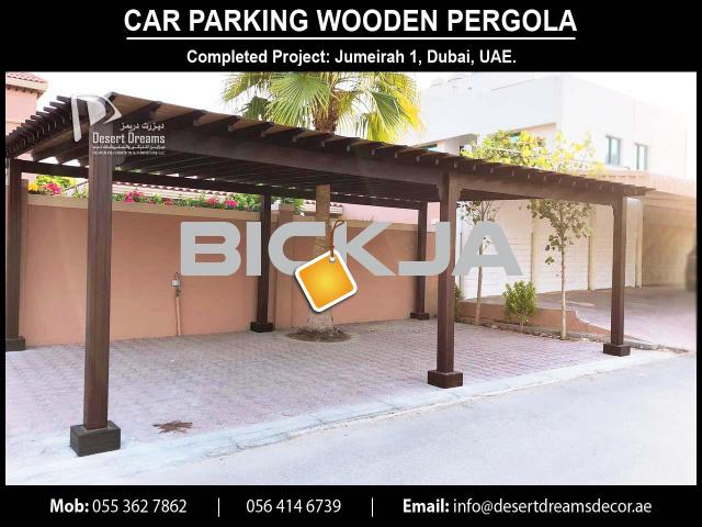 Car Parking Wooden Shades in UAE | Car Parking Wooden Structure | Villa Parking Pergola Uae. - 1/4
