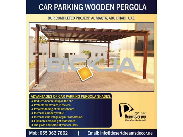Car Parking Wooden Shades in UAE | Car Parking Wooden Structure | Villa Parking Pergola Uae. - 2/4