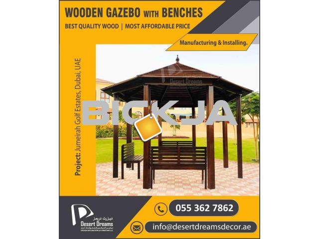 Wooden Roof Gazebo in Uae | Outdoor Gazebo | Apex Roof Gazebo | Octagon Gazebo Uae. - 1/4