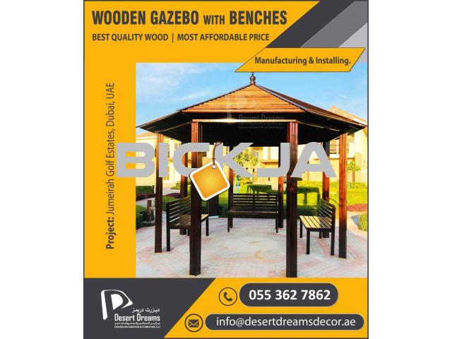 Wooden Roof Gazebo in Uae | Outdoor Gazebo | Apex Roof Gazebo | Octagon Gazebo Uae. - 2/4