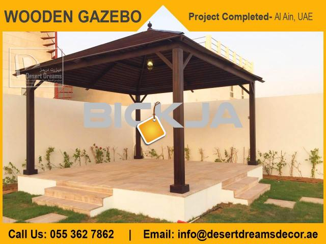 Wooden Roof Gazebo in Uae | Outdoor Gazebo | Apex Roof Gazebo | Octagon Gazebo Uae. - 3/4