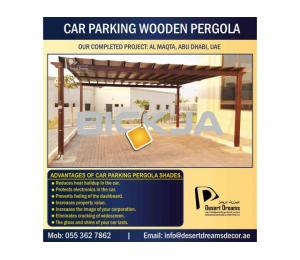 Wooden Car Parking Shades in Dubai, UAE.