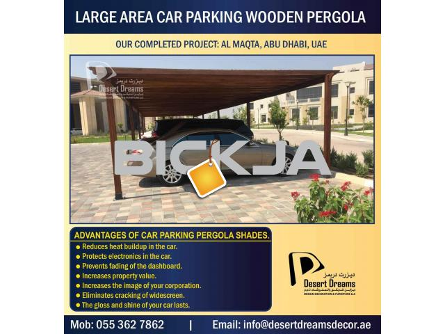 Wooden Car Parking Shades in Dubai, UAE. - 3/4