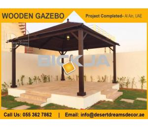 Creative Roofing Wooden Gazebo in Dubai, UAE.
