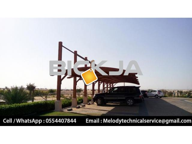 Car parking Pergola Abu Dhabi | Wooden Car Parking | Car Parking Shades UAE - 3/4