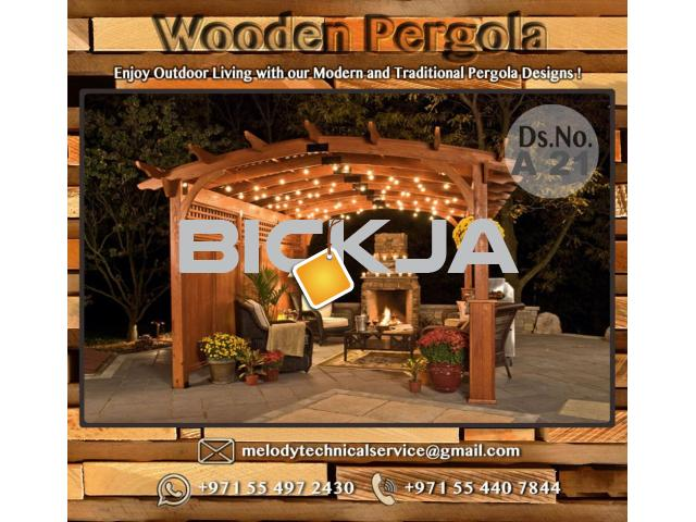 Wooden Pergola Suppliers | Pergola Lighting in Dubai | Balcony Pergola | Pergola with Curtains - 3/4